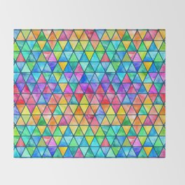 Little Rainbow Watercolor Triangles on Teal Throw Blanket