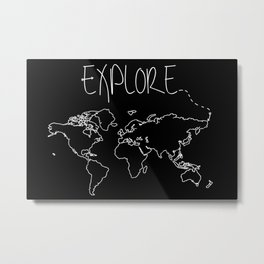 Explore World Map Metal Print