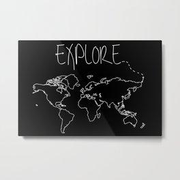 Explore World Map Metal Print