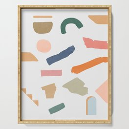 Mix of color shapes happy artwork Serving Tray