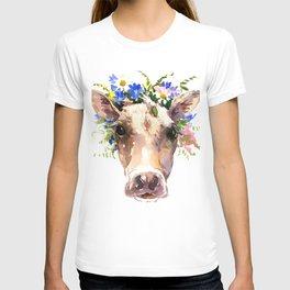 Cow Head, Floral Farm Animal Artwork farm house design, cattle T-shirt