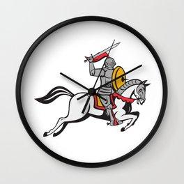 Knight Sword Shield Steed Attacking Cartoon Wall Clock