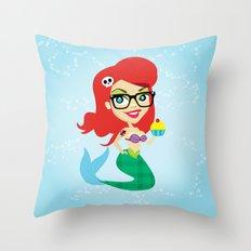 Hipster Mermaid Throw Pillow