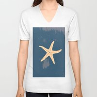seashell V-neck T-shirts featuring blue seashell by gzm_guvenc