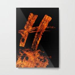 Burning on Fire Letter H Metal Print