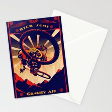 retro mountain bike poster: kick some gravity ass Stationery Cards