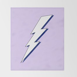 Just Me and My Shadow Lightning Bolt - Purple White Blue Throw Blanket