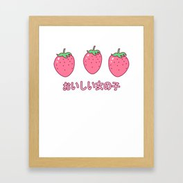 Kawaii Strawberries Cute Strawberry for Japanese Harajuku design Framed Art Print