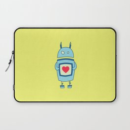 Cute Clumsy Robot With Heart Laptop Sleeve