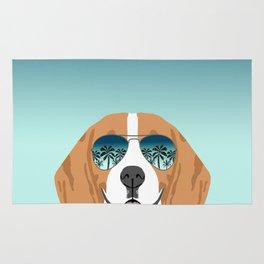 Tropical Beagle illustration cute palm trees sumer sunglasses dog design Rug