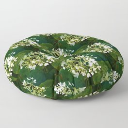 Hills-of-snow hydrangea pattern Floor Pillow