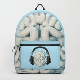 Mind Music Connection /3D render of human brain wearing headphones Backpack
