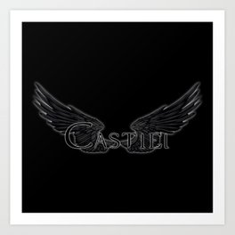 Castiel with Wings Black Art Print