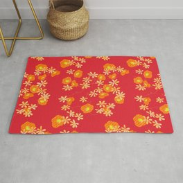 Red and yellow japanese hibiscus Rug