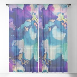 Athena Alcohol Ink and Reactive Foil Artwork Sheer Curtain