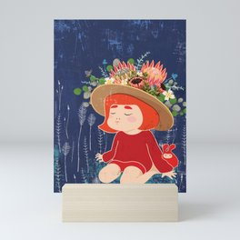 Girl With Flower Hat Mini Art Print
