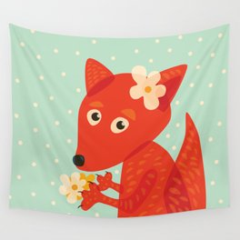 Cute Fox And Flowers Wall Tapestry