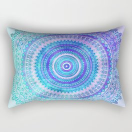 Blue Turquoise And Purple Watercolor Mandala Art Rectangular Pillow