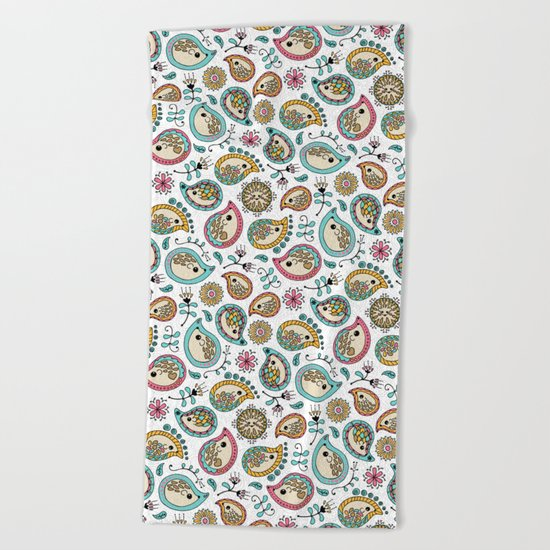 Hedgehog Paisley_Colors and White Beach Towel