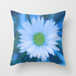 Ice Blue Daisy Abstract Throw Pillow