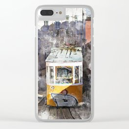 Lisbon Trams II Clear iPhone Case