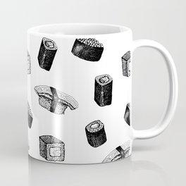 Sushi pattern. Hand-drawn japanese food sushi and rolls on a white background Coffee Mug