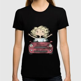 Girl Driving A Car T-shirt