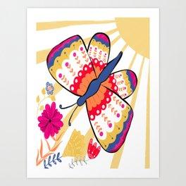 Folky Cheerful Butterfly Art Print