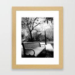 Park Bench (Black & White) Framed Art Print