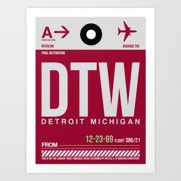 DTW Detroit  Luggage Tag 1 Art Print
