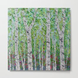 Springtime Birch Forest Metal Print