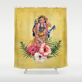 Hula Doll With Ukelele and Big Pink Flowers Shower Curtain