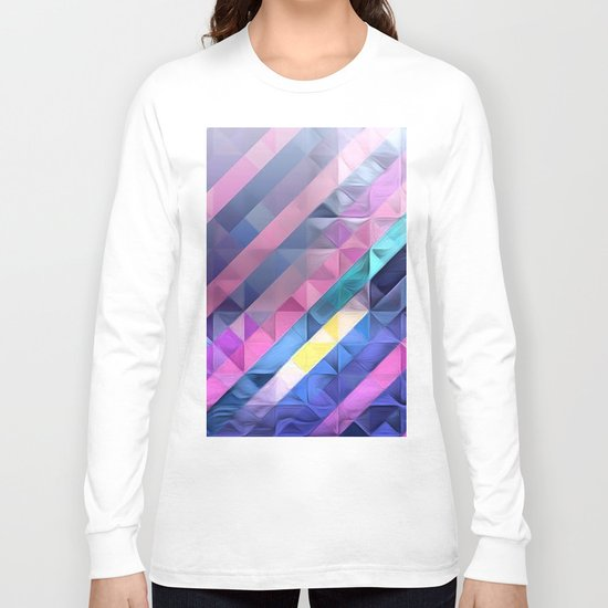 Geometric Abstract Pastel Rainbow Long Sleeve T-shirt