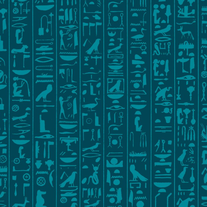 Hieroglyphics Moonstone BLUE / Ancient Egyptian hieroglyphics pattern Leggings