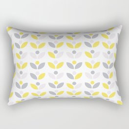 Yellow and Grey Abstract Flower Pattern #society6 #decor #buyart #artprint Rectangular Pillow