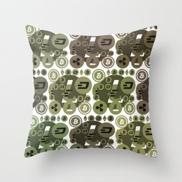 Ethereum, Bitcoin, Dash, Ripple, Litcoin Throw Pillow