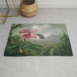 Orchid And Hummingbird Near A Mountain Waterfall 1902 By Martin Johnson Heade | Reproduction Rug