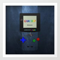 gameboy Art Prints featuring GAMEBOY COLOR by Smart Friend