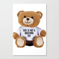 moschino Canvas Prints featuring TEDDY BEAR PARFUM MOSCHINO by Claudio Velázquez