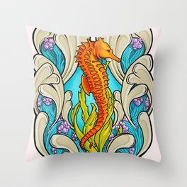 Art Nouveau Seahorse Throw Pillow