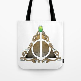 Deathly Hallows w/green Tote Bag