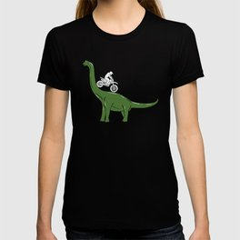 Motorcycle Cyclist On A Dinosaur Motorbike Dino T-shirt