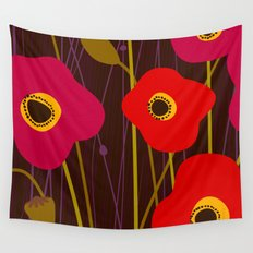 Red Poppy Flowers by Friztin Wall Tapestry