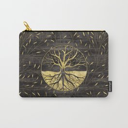 Golden Tree of life on wooden texture Carry-All Pouch