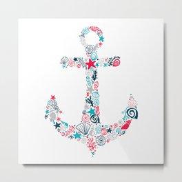 Seashell Anchor Metal Print
