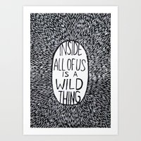 wild things Art Prints featuring Wild things by Yeehaw Prints