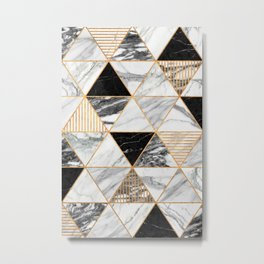 Marble Triangles 2 - Black and White Metal Print