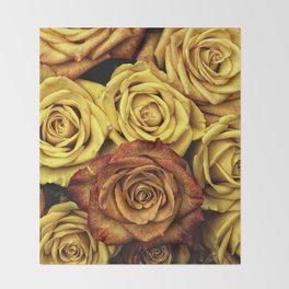 Golden Yellow Roses Pattern (Color) Throw Blanket