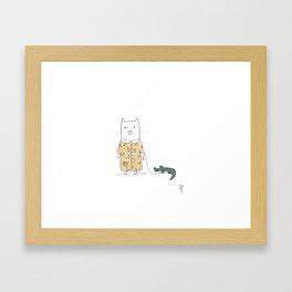 Cat and her pet, Caiman Framed Art Print