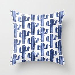 Mid Century Modern Desert Cactus Pattern 847 Indigo Blue Throw Pillow